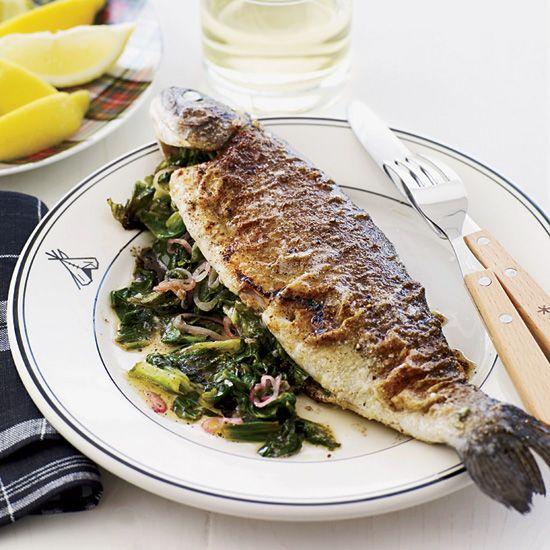 Escarole-Stuffed Seared Trout // More Delicious Fish Recipes: http://www.foodandwine.com/slideshows/fast-fish #foodandwine
