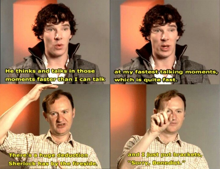 When Sherlock has a super long deduction... Poor Benedict.