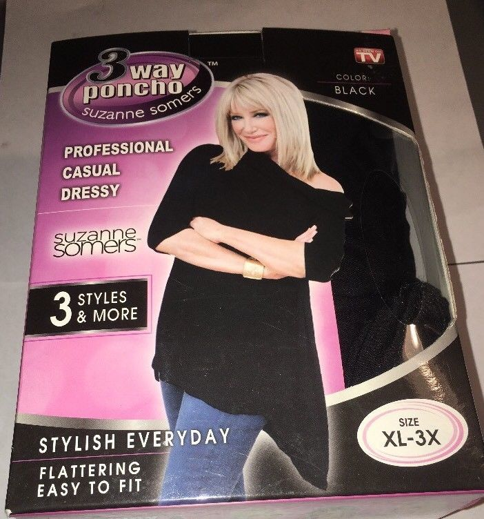Clothing, Shoes & Accessories Suzanne Somers 3 Way Poncho Size Xl 3x Black 100% Guarantee