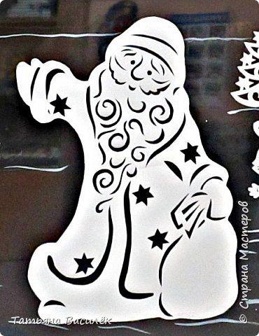 Интерьер Новый год Вырезание Дед Мороз и Снегурочка в Сказочном лесу оформление окон Бумага фото 3