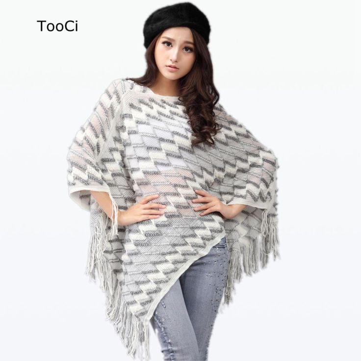 2015 Nowa Wiosna Jesień Zima Kobiety Swetry Damskie Poncho Frędzle Długi Dzianiny Swetry Z Dzianiny Cape Płaszcz
