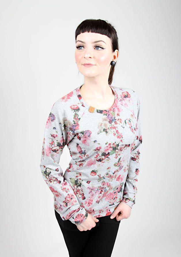 """MEKO  """"Zeila"""" Pullover Damen Grau Rosa Blau Grün Blumen Floral langarm Sweatshirt Flower Rose Blue Grey Green von mekoStore auf Etsy"""