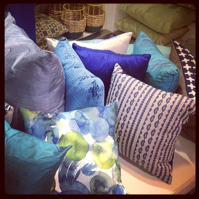 Update your space with colourful cushions. We have every shade of blue from British D designers. #interior #britishdesign
