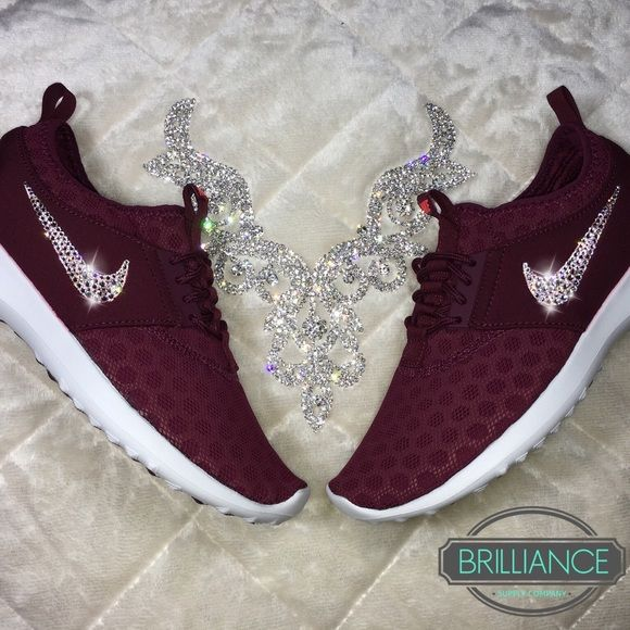 Nike Juvenate in Burgundy with Swarovski Crystals Authentic Women's Nike Juvenate Shoes in Burgundy. Perfect for this time of year!  Outer swooshes are encrusted with hundreds of real Swarovski® crystals in all different sizes to ensure maximum brilliance and shine.  Shoes are brand new in original box, purchased directly from an authorized Nike retailer.  Crystals have been applied with industrial strength glue. Will never come off.  Please allow up to 2 weeks to receive your order. Nike…
