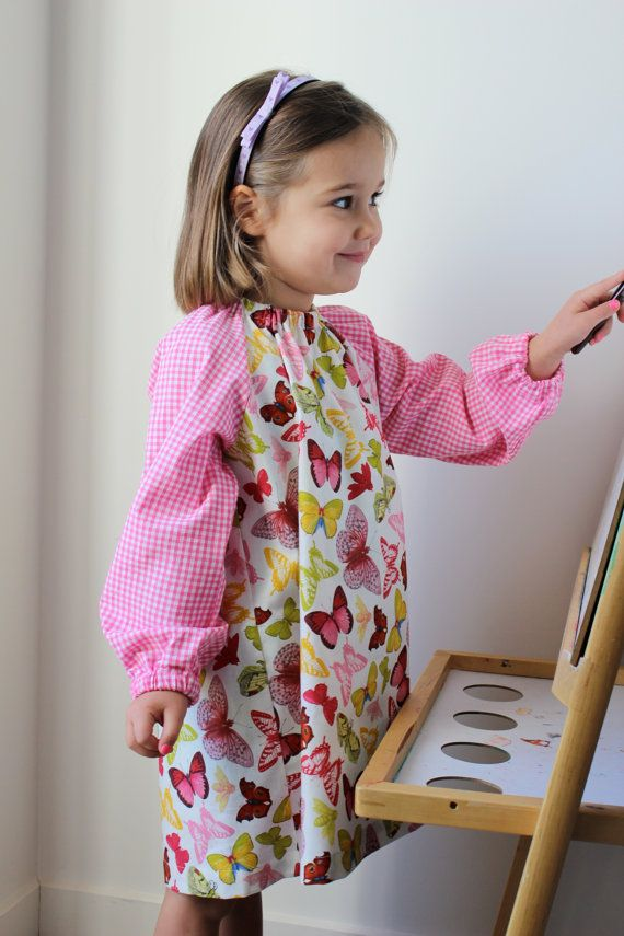 Butterfly Study. Children's Art Smock/ Apron. Ages by gigisbuttons