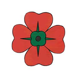 Memorial Day craft for kids - poppy. Color, cut out, and glue