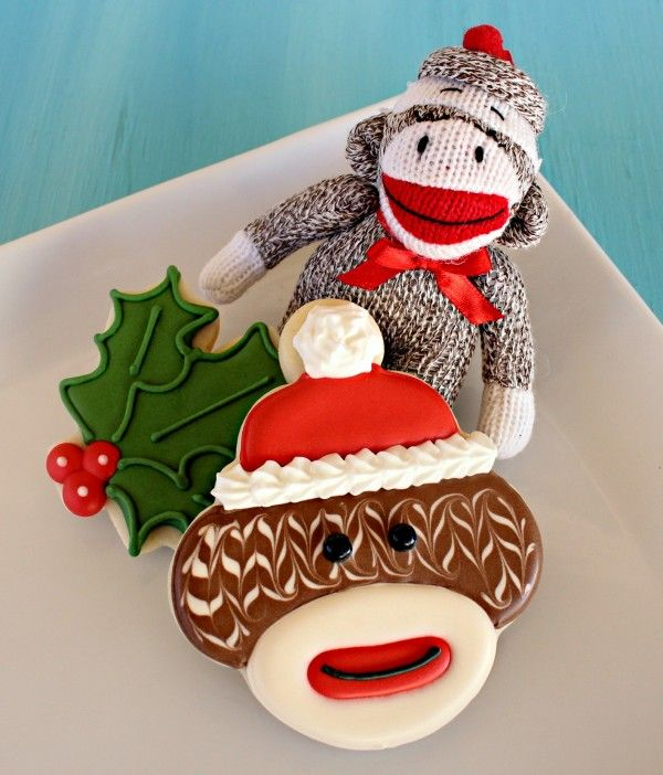 Sock monkey cookies.  I wish I cared enough to make cookies this cute.