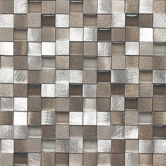 Wall Tile Decals Vinyl Sticker WATERPROOF Wallpaper for Kitchen & Bath :  Mosaic MS017 Metallic Shells
