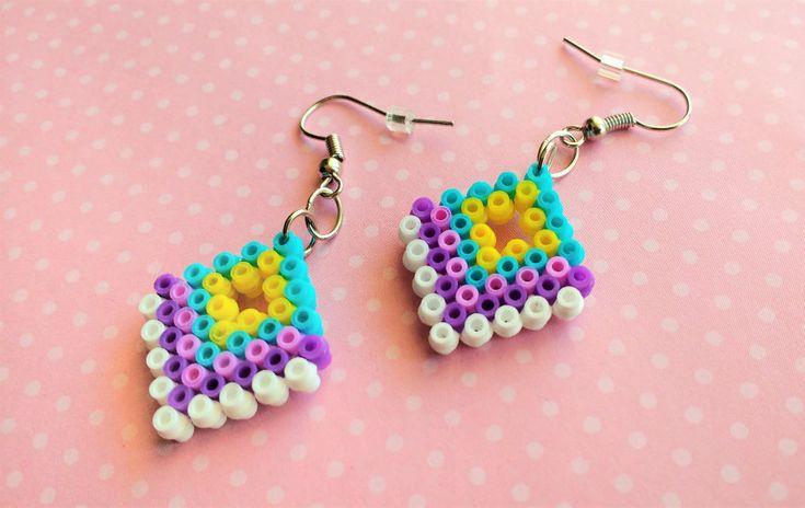 Colorful earrings hama mini beads by 8BitEarrings