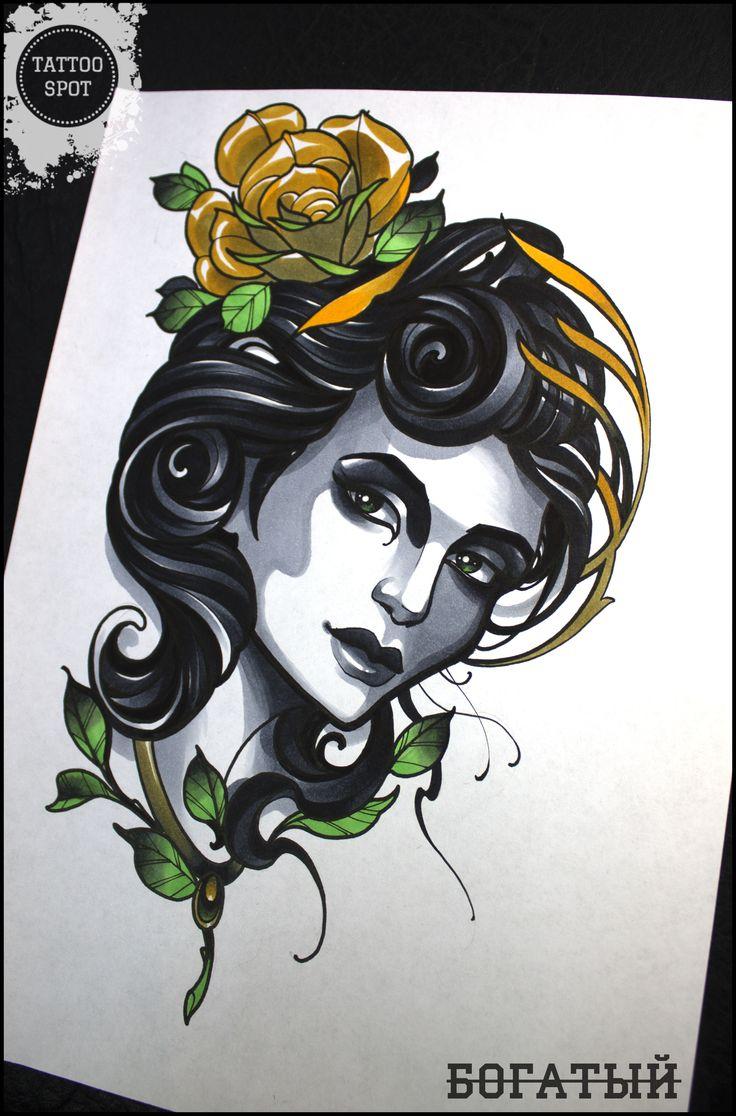 "Tattoo scetch by Evgeny . ""Tattoo Spot"" studio. Saint Petersburg/girl/face/nymph/"