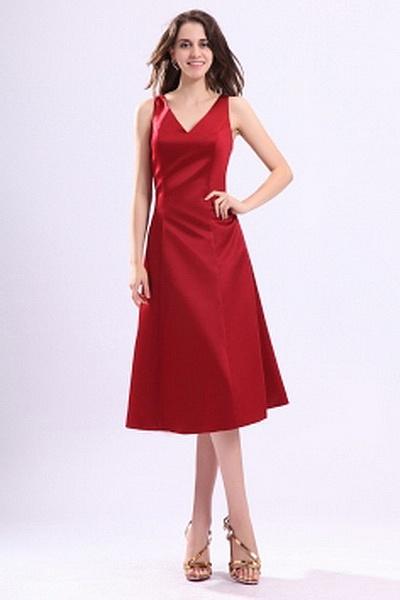 Une Ligne-Robes Rouges Demoiselles D'Honneur Plissage rs2778 - Tissu: Satin, Décolleté: Col En V; Silhouette: Une Ligne-; Fermeture: Fermeture À Glissière - Price: 120.9900 - Link: http://www.robesoirees.com/une-ligne-robes-rouges-demoiselles-d-honneur-pl