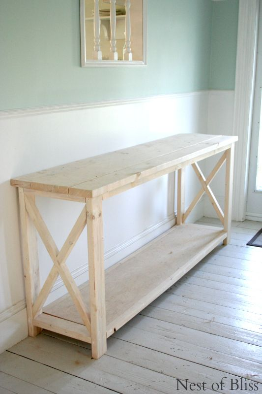 How To Create A Weathered Wood Finish, Ana White Plans adapted to a sofa console/desk