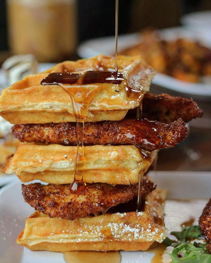 Anyone else not ready for the weekend to end yet? : Chicken 'n Waffles with Fried Boneless Chicken Breast Belgian Waffle and Sweet & Spicy Whiskey-Brown Sugar Sauce : @ProjectBrunchSI : @BrunchBoys : Tag your brunch buddy!