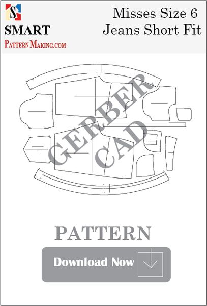 Gerber CAD Misses Jeans Short Fit Sewing Pattern