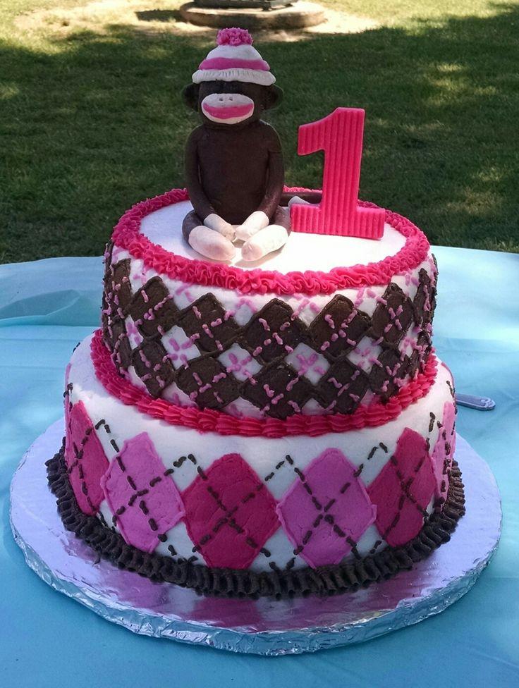 Sock Monkey cake for little girls first birthday!