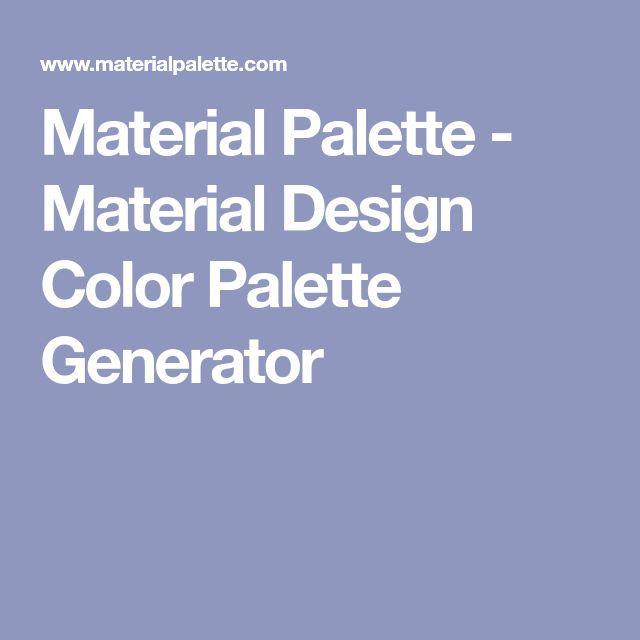 Material Palette - Material Design Color Palette Generator