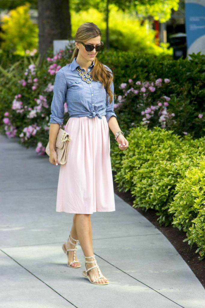 A bridesmaid dress reworn as a skirt with a knotted chambray top over it