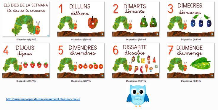 Recursos didácticos para la etapa de Educación Infantil: La pequeña oruga glotona / La petita eruga golafre / The very hungry caterpillar - Días de la semana/Dies de la setmana/Days of the week