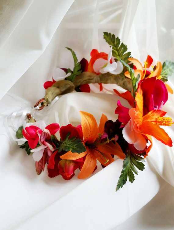 TROPICAL FLOWER CROWN  Hawaiian Tropical Headpiece by MalamaPua, $115.99