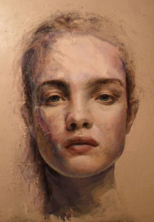 Rick Young (encaustic) - now this is what I would like to learn how to do - did he paint the portrait in oil and then schlacker a layer or two of wax over the top...and then give it some texture?