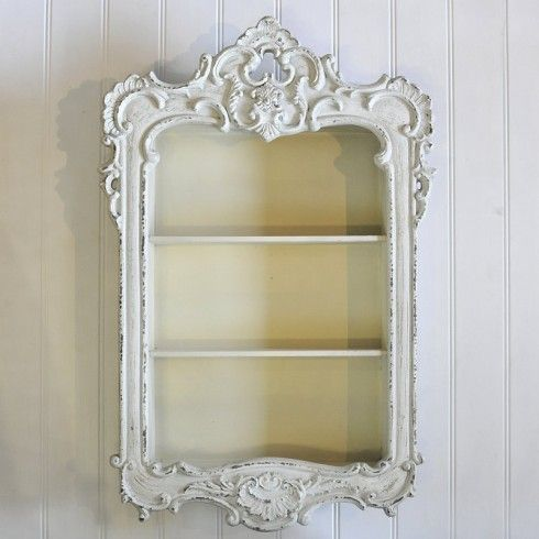 White Rococo Wall Display Cabinet