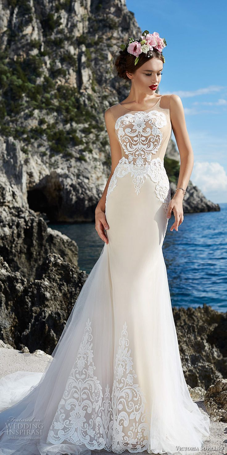 victoria soprano 2017 bridal sleeveless illusion jewel neck heavily embellished bodice elegant ivory color fit and flare wedding dress covered lace back chapel train (11) mv -- Victoria Soprano 2017 Wedding Dresses