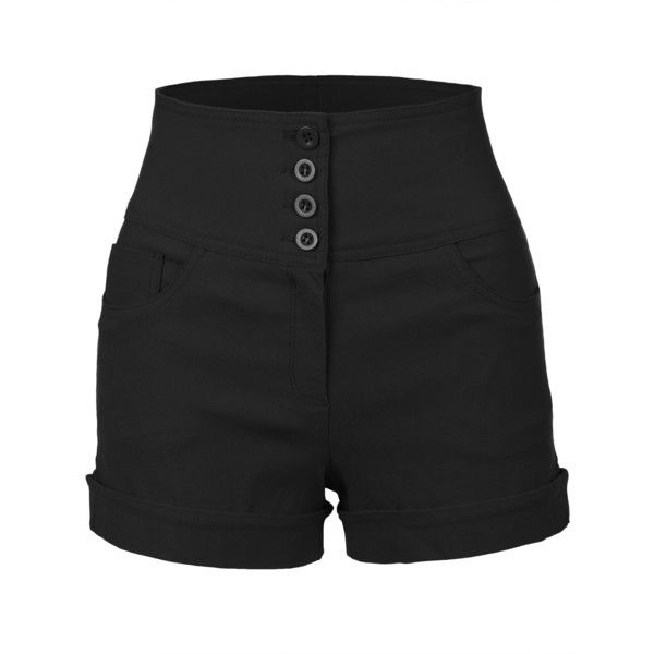 LE3NO Womens Stretchy High waisted Button Sailor Nautical Shorts (£14) ❤ liked on Polyvore featuring shorts, bottoms, pants, stretchy shorts, high waisted shorts, highwaist shorts, high-rise shorts and high-waisted shorts