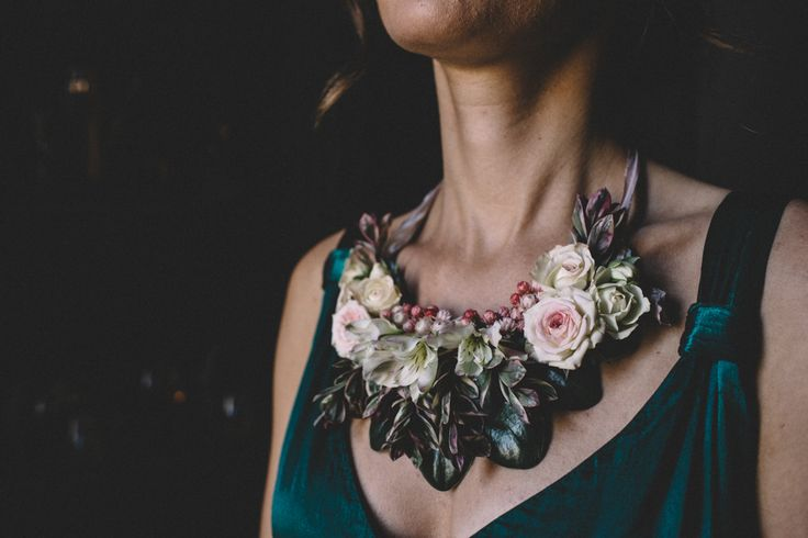 Statement Necklace For Bridesmaid | Dark Hues For An Intimate Wedding Inspiration Shoot At The Green Man Winchester With Stationery By Geri Loves Emi And Images From Carrie Lavers Photography