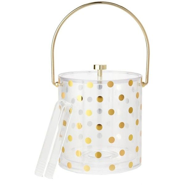 kate spade new york Raise A Glass Acrylic Ice Bucket, Gold Dots ($54) ❤ liked on Polyvore featuring home, kitchen & dining, bar tools, gold, acrylic ice bucket, kate spade, glass ice bucket, acrylic wine bucket and glass wine bucket