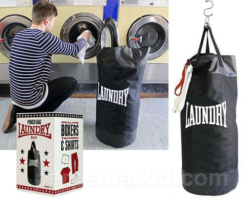 PUNCH BAG LAUNDRY BAG. the dual purpose gets me every time!