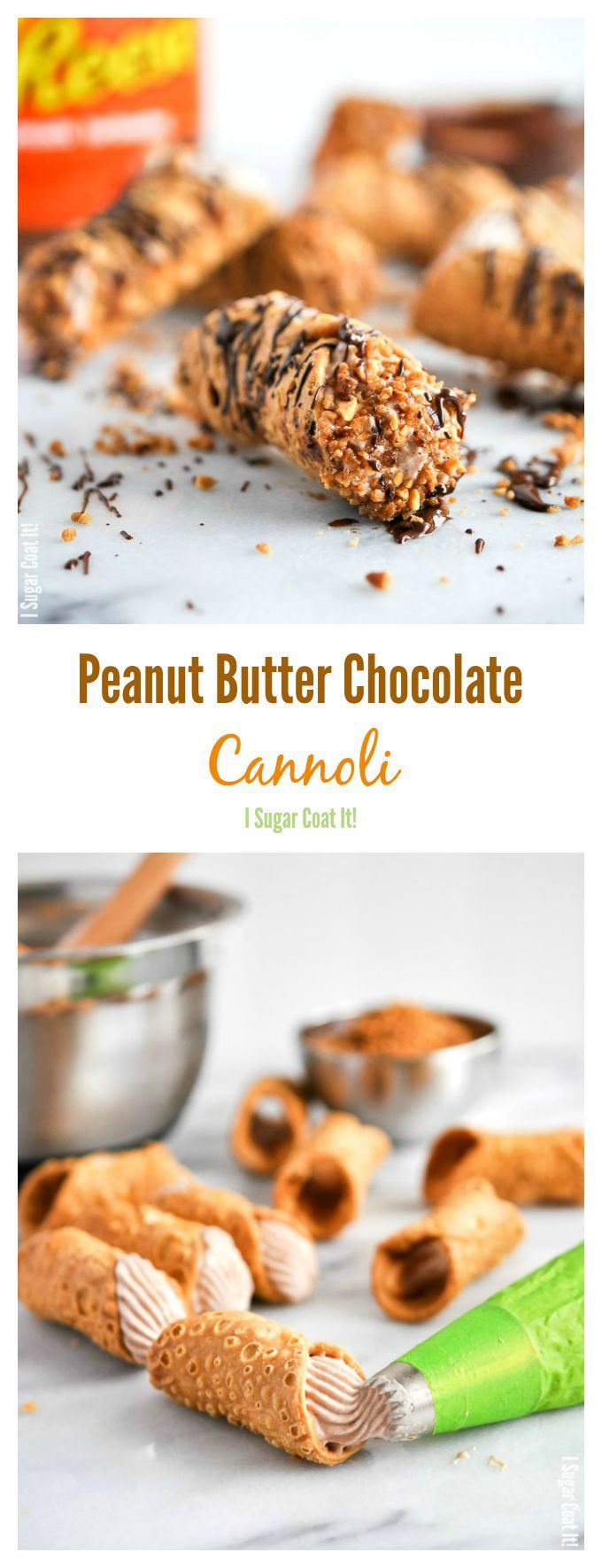 Peanut Butter Chocolate Whipped Coconut Cannoli