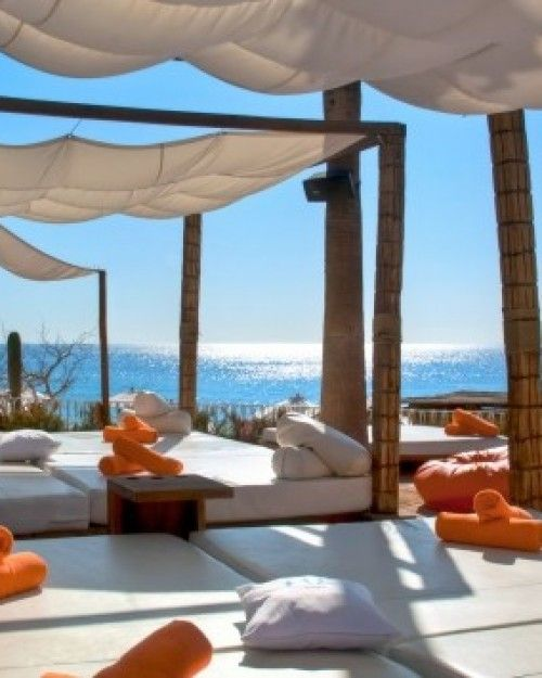 Lounge out on Ibiza-style daybeds or private cabanas (for a fee) overlooking the Sea of Cortez. #Jetsetter