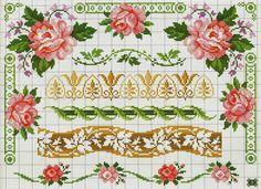 rosas para toalhas - Ponto Cruz Lindos