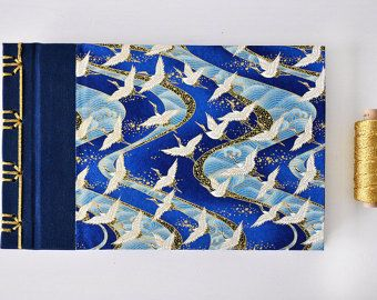 Japanese Notebook, hand bound stab binding, Journal, Diary, Album, Sketchbook, Travel Book - Chiyogami Yuzen - Cranes - blue, white, gold