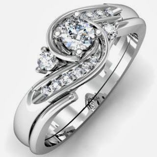 0.50 Carat (ctw) 10k White Gold Round Diamond Ladies Swirl Bridal Engagement Ring Matching Band Set 1/2 CT