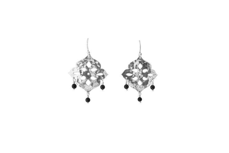 Thai Princess earrings in Sterling Silver and Onyx Stones www.murkani.com.au
