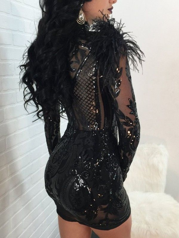 2d339dff Sheer Sequined Feather Design Bodycon Mini Dress | Birthday look ...
