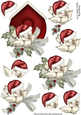 The Christmas Sparrow Decoupage on Craftsuprint designed by Karen Adair - This is a really cute image of a Christmas Sparrow at his nesting box, with holly and bow. Decoupage layers up to add depth and dimension. If you like this check out my other designs, just click on my name. - Now available for download!
