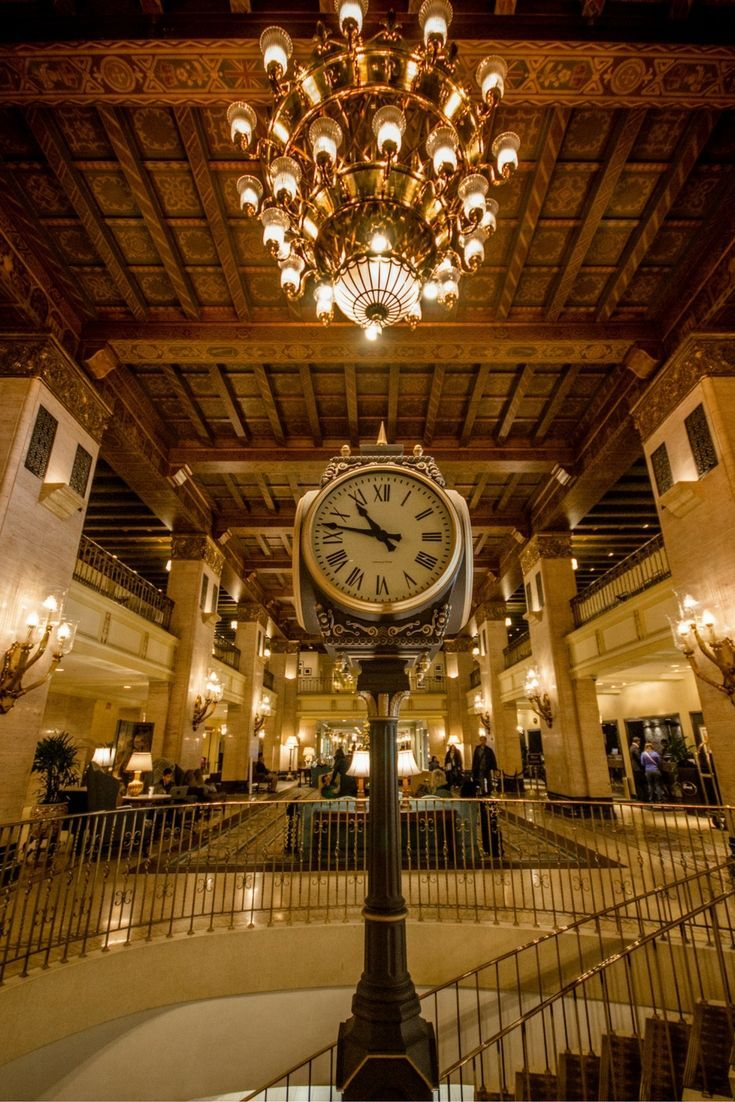 The iconic clock in the lobby of the Fairmont Royal York Hotel in Toronto, Ontario, Canada.