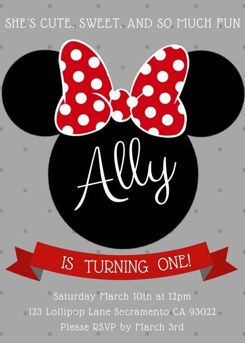 Minnie Mouse Invitation Editable Birthday Template Red Mickey Party DIY Printable PDF Instant Download By