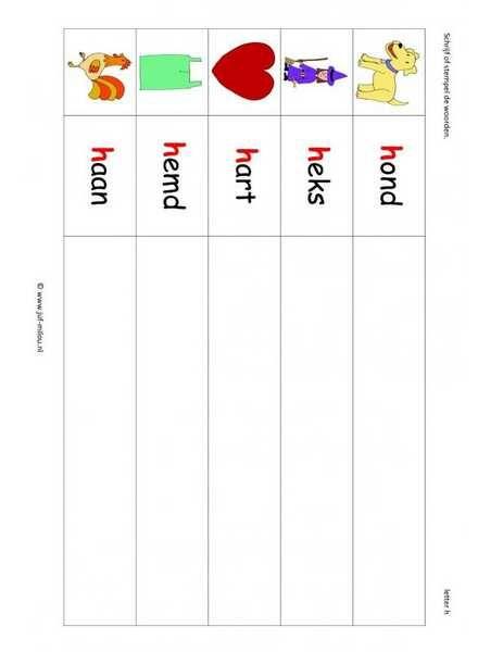 Taal - H woorden stempelen kl 1