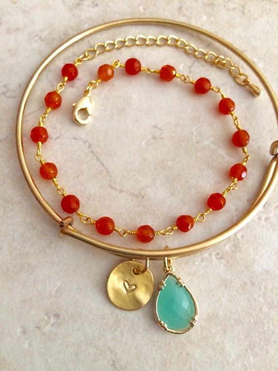 Initial Charm and Mint Drop Bangle and Orange Jade by LimonBijoux