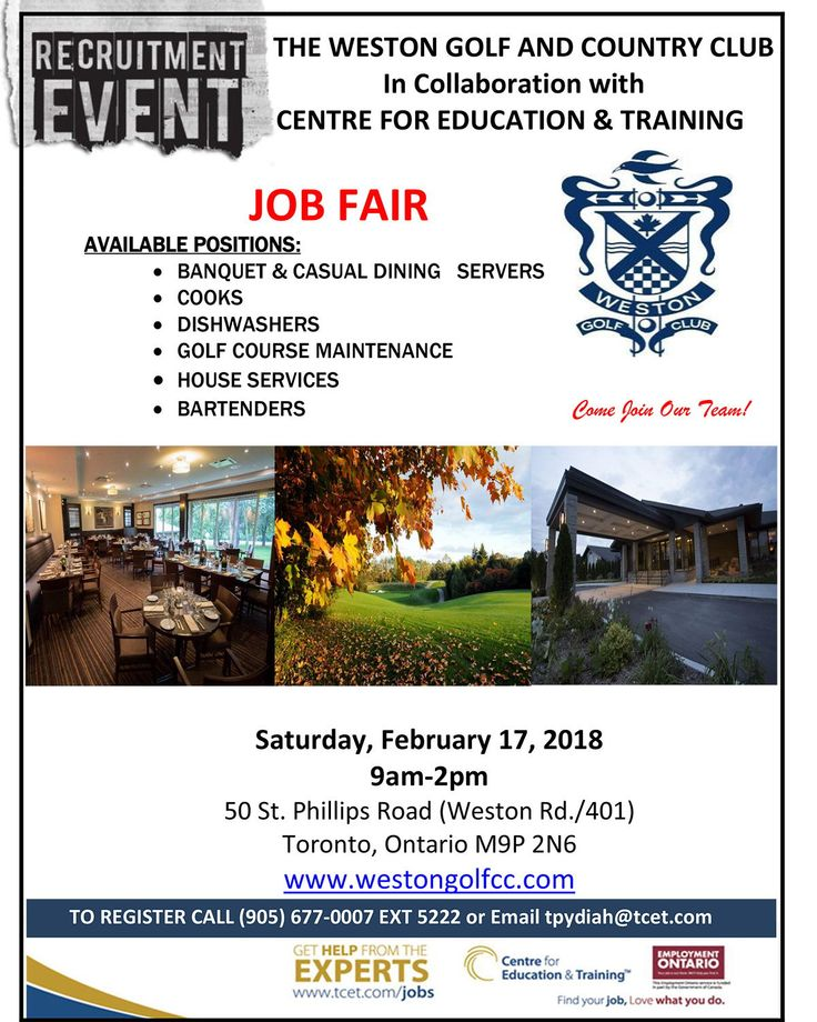 Need a job this spring/summer? Why not #work at one of the most picturesque locations in the GTA! TOMORROW Sat Feb 17th, 9am-2pm at 50 Philips Rd., don't miss the Weston Golf & Country Club #Hiring Event! Multiple positions available! RSVP 905-677-0007 ext 5222 #ONjobs #JobSearch
