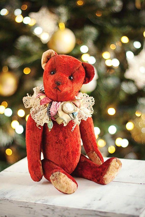 Artist teddy bear OOAK teddy Red teddy bear Interior toy