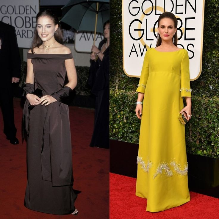Only 18 years old at her first Golden Globes, Natalie Portman looked sophisticated in a chocolate brown gown and a matching wrap. Now pregnant with her second child, the actress glowed in a Prada ensemble.