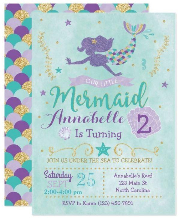 Mermaid Birthday Invitation - Under The Sea Mermaid Birthday Invite