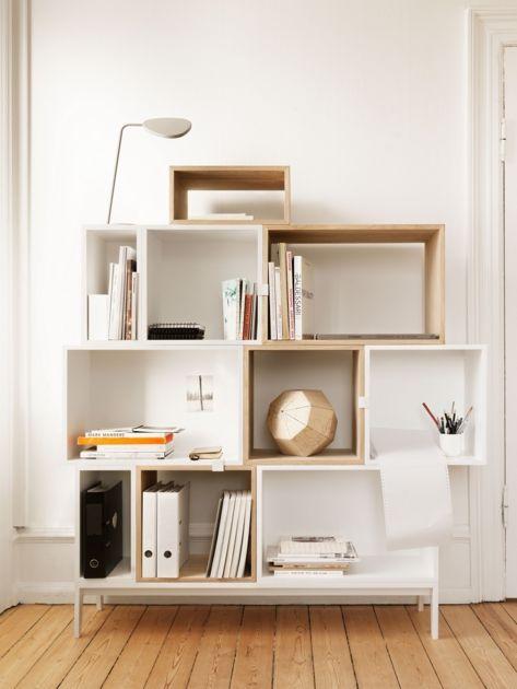 Etagere design Stacked Muuto medium carré sans fond frêne - mobilier design