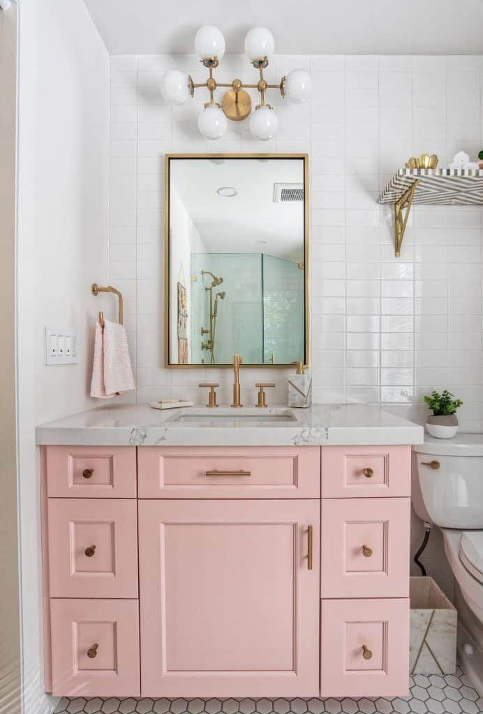 If You Re Going To Bring In Colors You Might As Well Make Them Pastels Pink Or Green Are Mid Century Modern Bathroom Modern Bathroom Bathroom Interior Design