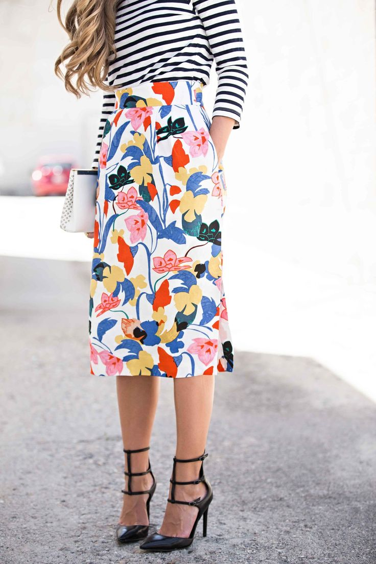 jcrew floral skirt, kendall and kylie heels, floral and stripes, womens fashion, street style, jessakae #WomensFashionTips