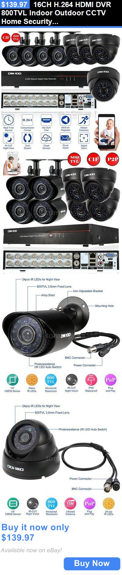Surveillance Security Systems: 16Ch H.264 Hdmi Dvr 800Tvl Indoor Outdoor Cctv Home Security Camera System E0x9 BUY IT NOW ONLY: $139.97